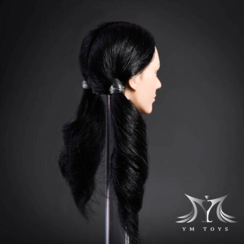 """1//6 Female Head Sculpt cheveux Noir pour pâle PHICEN 12/"""" figure féminine poupée"""