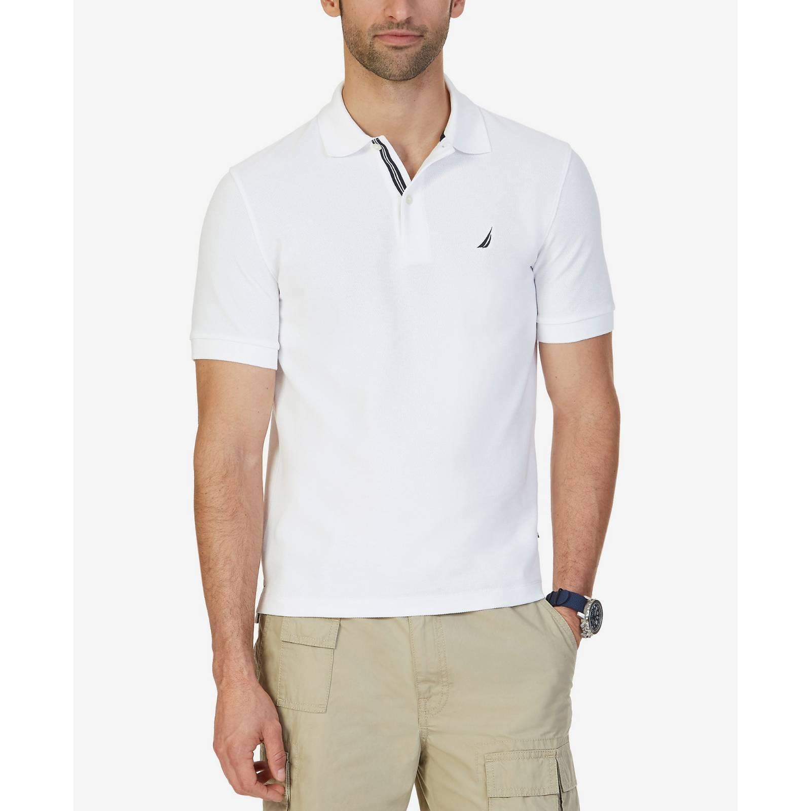 NAUTICA Men CLASSIC-FIT WHITE SHORT-SLEEVE POLO KNIT LOGO TOP DRESS SHIRT L