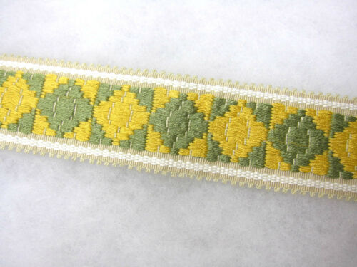 Yellow /& green braid border fabric curtain material trimming sew trim PER METRE