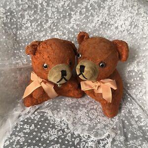 1930s-Twin-Puppies-Teddy-Bears-Pair-1920s-Orange-Silk-Antique-Vintage-Label
