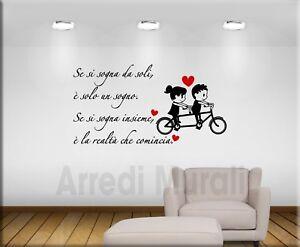 adesivi murali frase sognare insieme decorazioni da parete