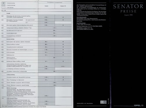 Opel Senator Preisliste 1990 8//90 price list prijslijst prisliste prislista Auto