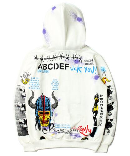 Mens 18 AW VLONE Graffiti Sweats Hoodies Hooded Baseball Sweatshirt Coat Jackets