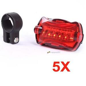5X Bicycle Rear Safety Flashlight Taillight Warning Lamp 5 LED Rear Light GAC