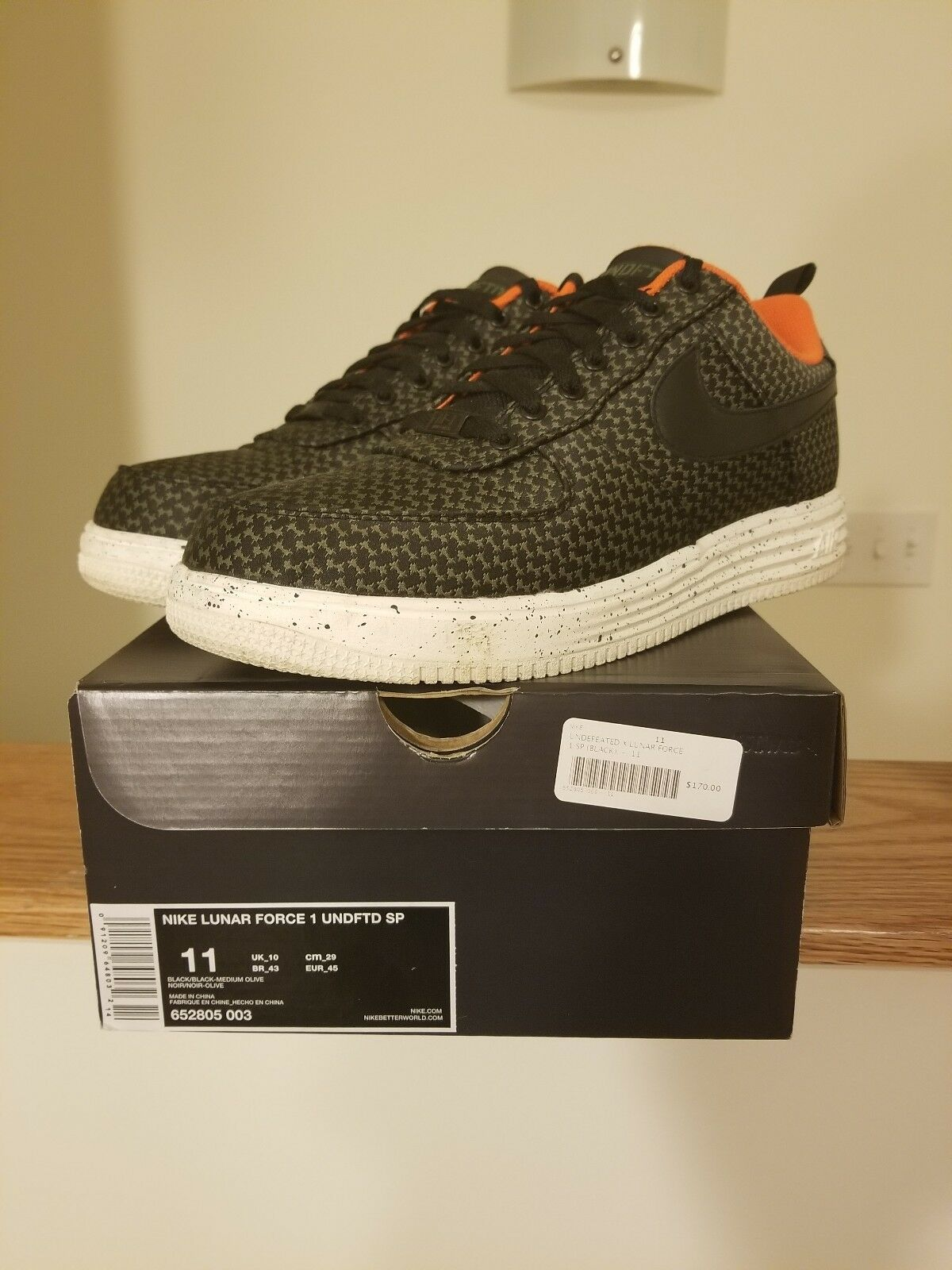 NIKE 1 X UNDEFEATED LUNAR FORCE 1 NIKE SP UNDFTD BLACK OLIVE 652805 003 WORN SIZE 11 db771e