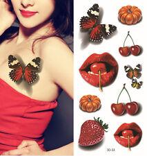 3D Body Art Glitter Temporary Tattoos Waterproof Butterfly Cherry Lips