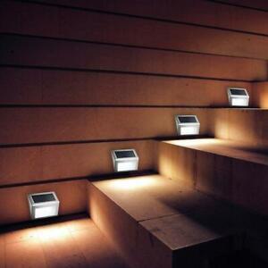 3-LED-Luce-Lampada-Solare-Lampione-Stradale-in-Acciaio-Per-Esterno-Scale-Cortile