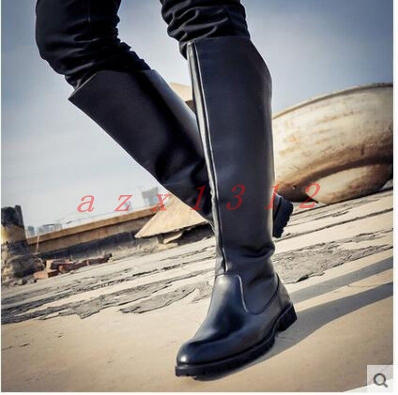 New Mens Pointy Toe Military Zip Combat Knee High Boots Shoes British Punk Army