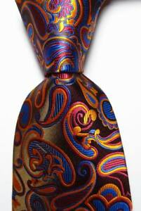 New-Classic-Paisley-Brown-Red-Blue-Gold-JACQUARD-WOVEN-Silk-Men-039-s-Tie-Necktie