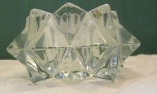 Vintage Small Glass Cube round star Ink Well/Perfume Bottle Candle holder