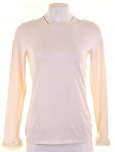 ANN-TAYLOR-Womens-Top-Long-Sleeve-Size-12-Medium-White-Cotton-BA05