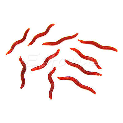 New 10Pcs Red Soft Worm EarthWorm Fishing Lure Tackle Baits Bass Trout Bream 4cm