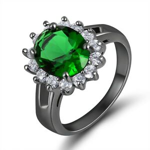 Women-039-s-Bridal-Round-Cut-Emerald-10KT-Black-Gold-Filled-Size-6-Anniversary-Ring