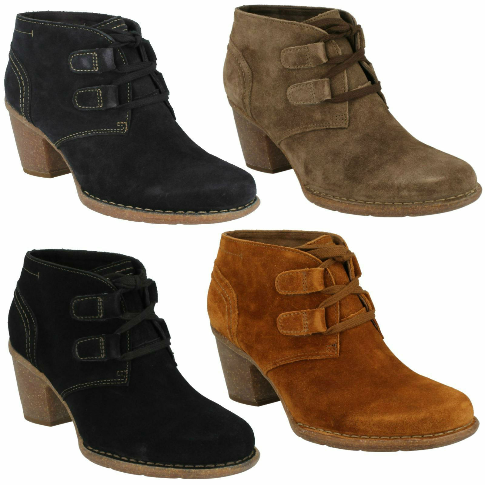 CARLETA LYON LADIES CLARKS SUEDE LACE UP HIGH HEEL CASUAL Schuhe WINTER BOOTS