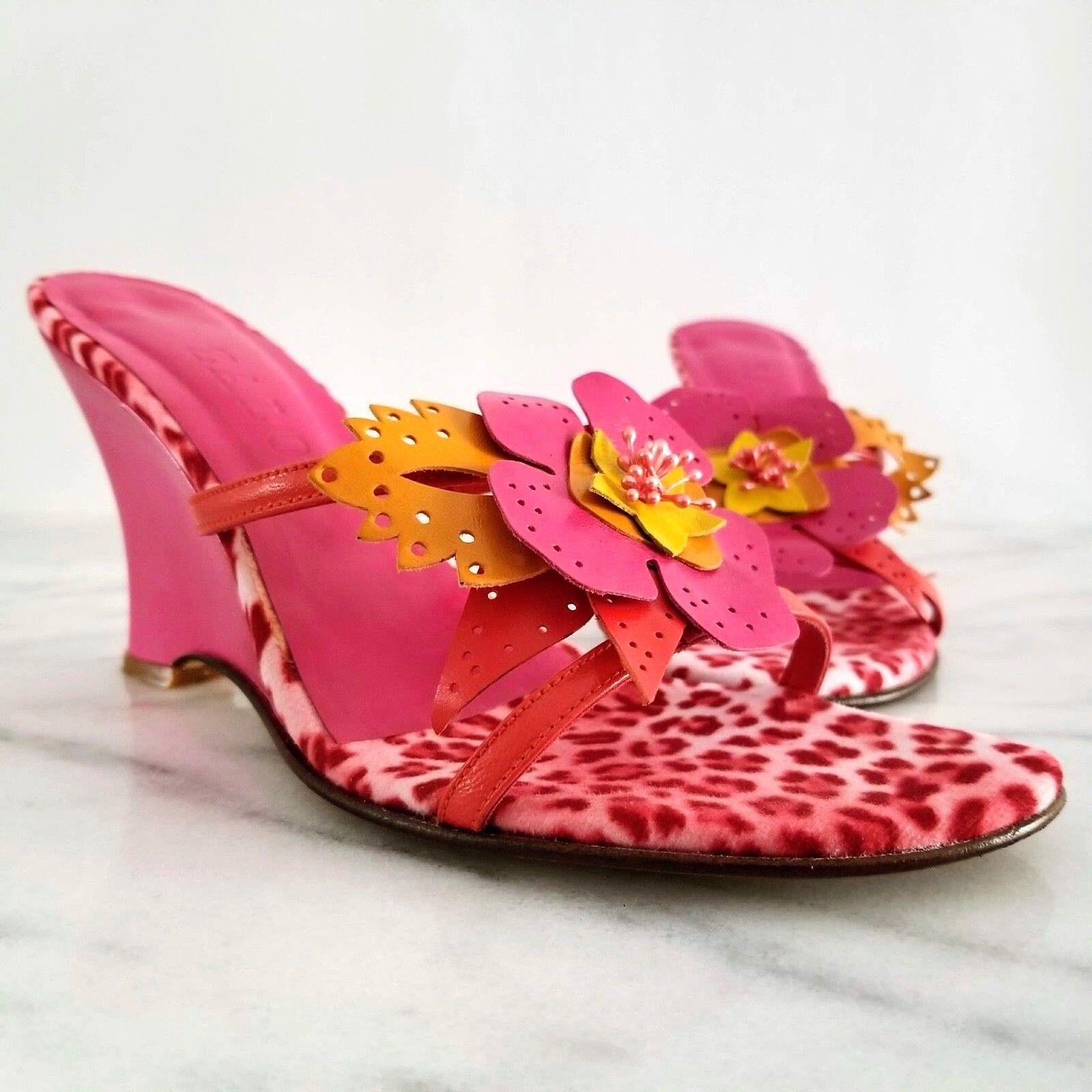 ZALO Spain Women's Wedge Sandal Pink Leather Flower Embellished Floral shoes 7.5