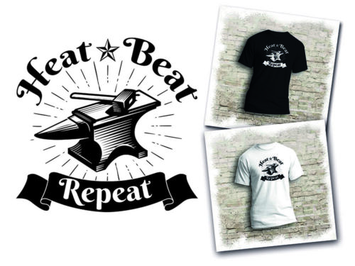 Available in white or black Heat Beat Repeat Blacksmith Metal Forging T-shirt