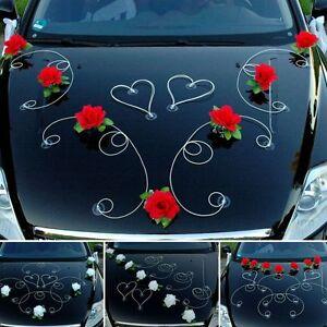 dekor auto schmuck braut paar rose deko dekoration 12 farben hochzeit ratan ebay. Black Bedroom Furniture Sets. Home Design Ideas