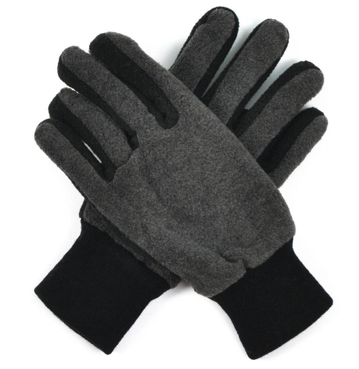 Men Fleece Gloves Black Gray Double Padded rk1685