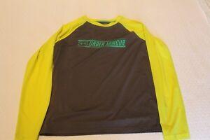 Under Armour Fish Hook Longsleeve HeatGear Gray Yellow Shirt Kids Size YL