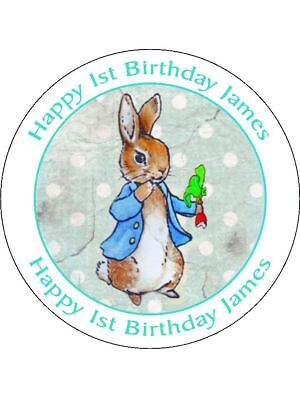 Peter Rabbit Blue Cute Personalised Stickers 24 x 45mm Birthday Party Gift 58