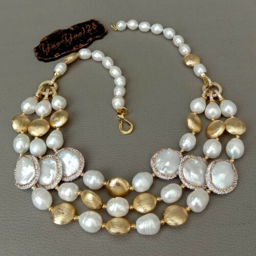 3 strands gold plated beads natural white rice coin freshwater pearls Necklace