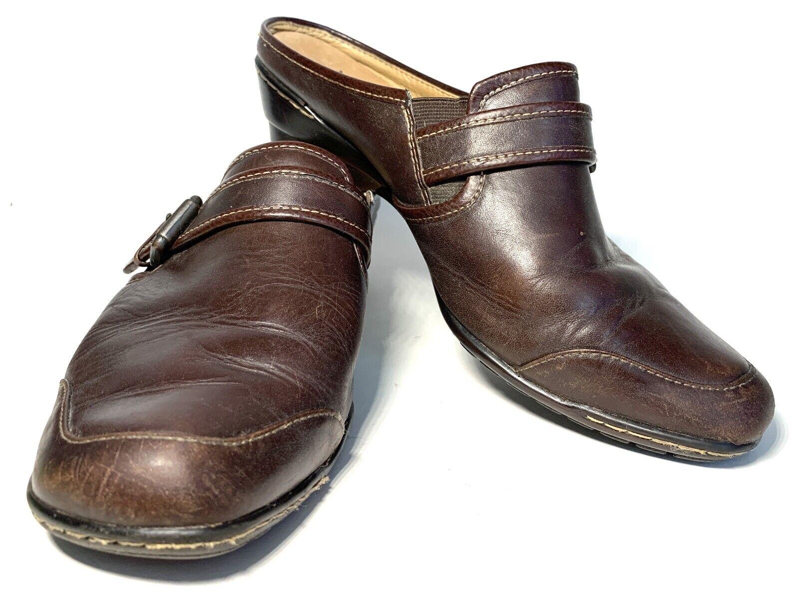 SOFFT Women Black Leather Mule Clog Slide On Shoes Heel Pump 1508501 8M