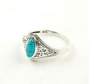 Sterling-Silver-3-0-ct-Turquoise-Cabochon-Filigree-Ring-Free-Gift-Packaging