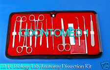 22 PC BIOLOGY LAB ANATOMY MEDICAL STUDENT DISSECTING DISSECTION INSTRUMENTS KIT