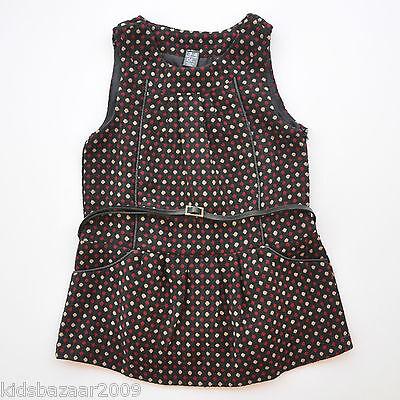 ZARA Girls Polka Dot Pinafore Dress with Belt Size 2-3/3-4/4-5/5-6/7-8