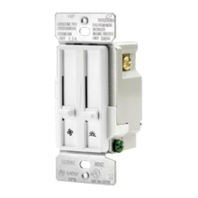 Eaton Decorator Slide Dimmer And Quiet Fan Speed Control  U2013 1 5a  Sdc15  White