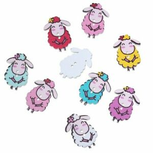 2-Holes-Wood-Sewing-Button-Scrapbooking-Sheep-Painting-Shape-Color-At-Random