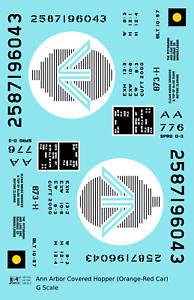 K4 G 1:24 Decals Ann Arbor Covered Hopper Black and White Ferry Logo