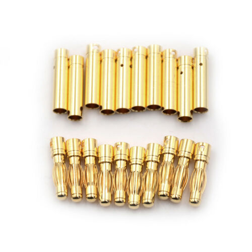 10Pair 4.0mm 4mm RC Battery Gold-plated Bullet Connector Banana Pl CWUS