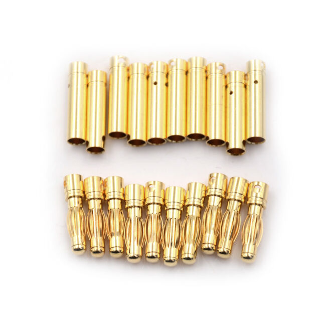 10Pair 4.0mm 4mm RC Battery Gold-plated Bullet Connector Banana Plug CB