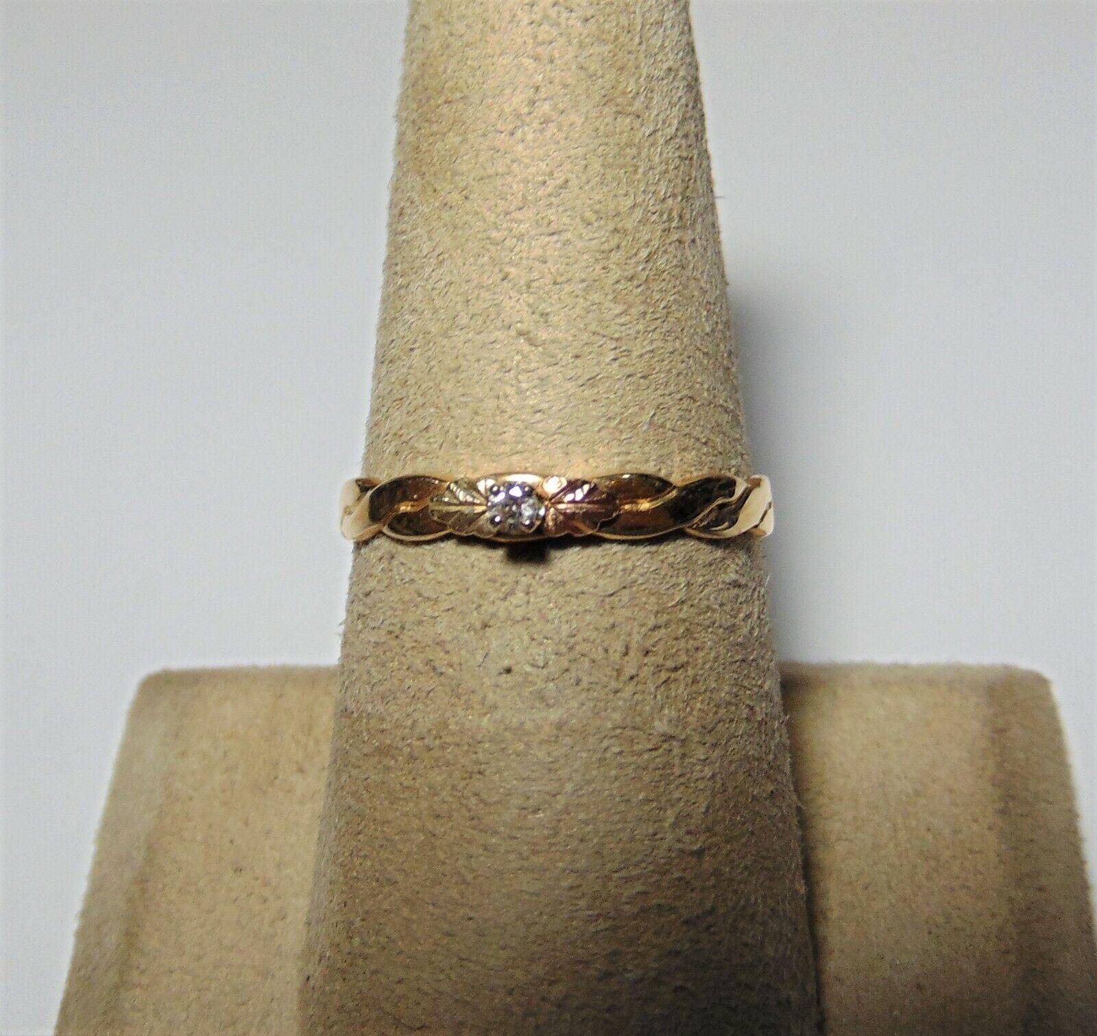 Ladies petite 10K Yellow gold Diamond Ring Size 6.75 G-66-M
