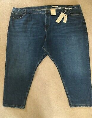 EX M/&S Mid Rise Relaxed Slim Fit Stretch Denim Floral Print Turn Up Capri Jeans.