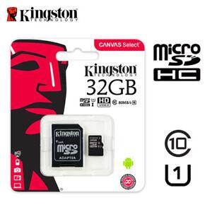 Kingston-32GB-Micro-SD-SDHC-SDXC-Klasse-10-Speicherkarte-TF-80MB-s-R-mit-Adapter