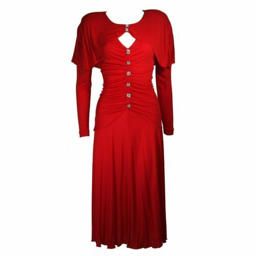 HOLLY HARP Red Jersey Long Sleeve Gown Size Medium