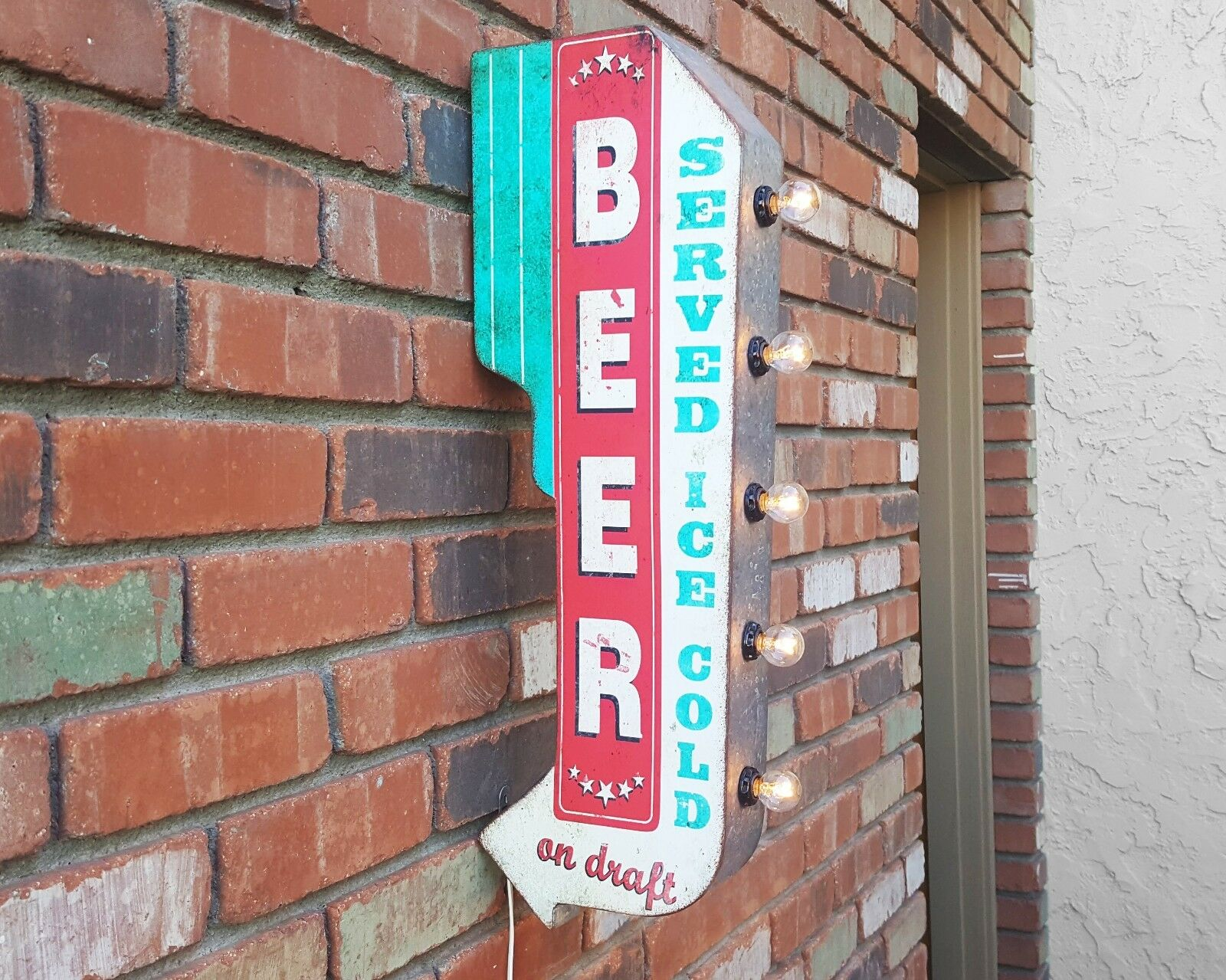 BEER Served Ice Cold PlugBattery Double Sided Rustic Marquee Arrow Light Up Sign