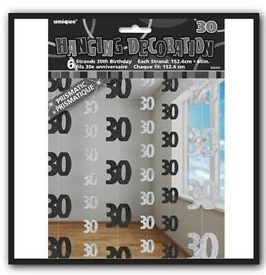 30th Birthday Hanging Decoration Curtain Black Party Supplies Glitz