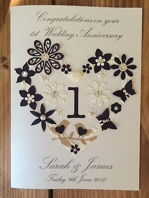 Personalised Handmade 1st Anniversary Wedding Anniversary Card Diamond Detail Ebay