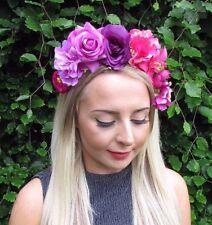 Purple Hot Pink Rose Flower Garland Headband Festival Hair Band Crown Boho 3065