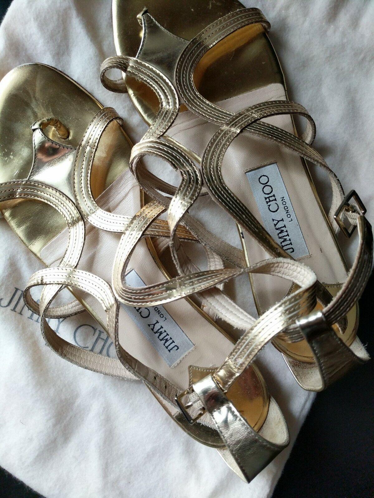495  JIMY CHOO London Nickel Flat oro Metallic Leather Sandals Flats Dimensione 38