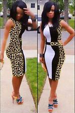 Abito cono aperto Leopardato Mini open dress party bodycon Leopard print club M