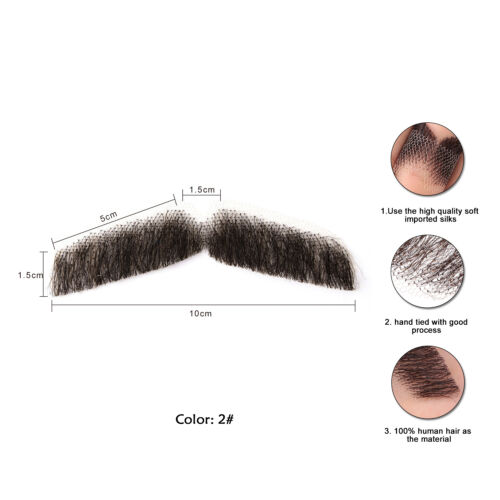 Men/'s Fake  Mustache100/% Human Hair Handmade Beard Fancy Party Cosplay Dress