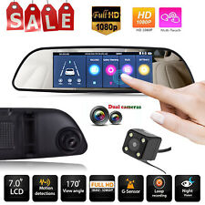 7 HD 1080p Car DVR Dual Lens Camera Vehicle Rearview Mirror Dash Cam Recorder