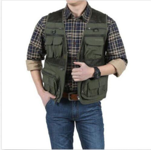 Mens Waistcoat Outdoor Travel Vest Jacket Fishing Photography Field Pockets Tops