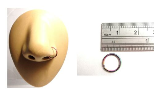 Oil Slick Titanium Seamless Nose No Ball Thin Hoop Ring 18 gauge  8 mm Diameter