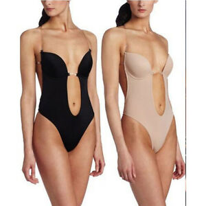 1ab840610d1 Image is loading US-Deep-Plunge-Thong-Bodysuit-Shapewear-Backless-Clear-