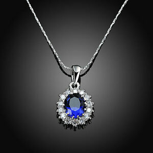 18K-White-Gpld-Filled-Oval-Blue-Sapphire-White-Topaz-Pendant-18-034-Chain-Necklace